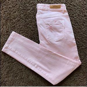 Zara pink distressed skinny jeans